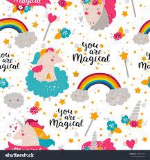 Birthday Cards Design For Kids Background Baby Unicorn Kids Pattern Design Stock Illustration