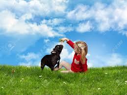 green grass blue sky flowers. Little Girl Playing With A Dog. Green Grass, Blue Sky, Flowers Of Chamomile Grass Sky U