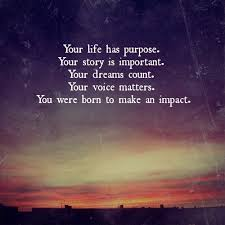 Purpose Of Life Quotes Magnificent Your Life Has Purpose Your Story Is Important Your Dreams Count