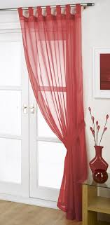 opaque red voile curtain panel