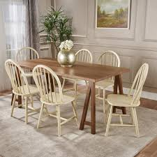 Amy Farmhouse Cottage 7 Piece Faux Wood Dining Set With Finished