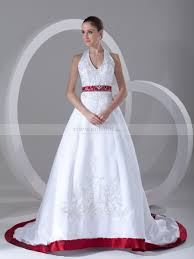 Halter Two Tone Embroidered Satin Wedding Dress With Chapel Train