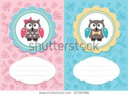 Babygirl Cards Babyboy Babygirl Cards Cute Owlets Some Stock Vector