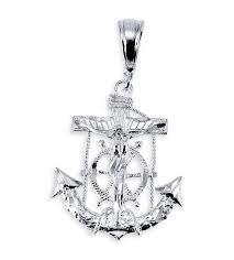 925 sterling silver crucifix mariner cross pendant
