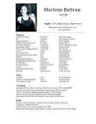 Theatre Resume Templates Fascinating Resume Template For Actors Theatrical Resume Template Acting Resumes