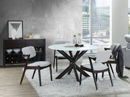 contemporary round dining tables with dark brown hardwood timber legs 1