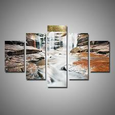 5 piece large waterfall canvas wall art