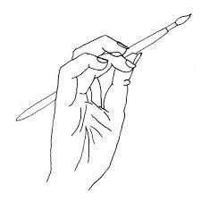 pincel dibujo. dibujo de mano con pincel n