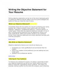 Resume Objective Statement Example Resumes Examples Samples For
