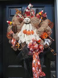 Halloween Ghost Wreath Lighted Halloween Front Door Wreath