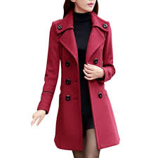 women double ted wool trench coat slim long