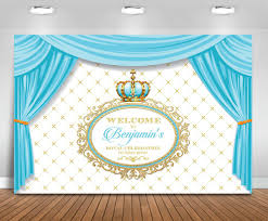 Light Blue Backdrop Curtain Us 22 44 Custom Baby Blue King Crown Prince Curtains Backdrop High Quality Computer Print Party Photography Studio Background In Background From