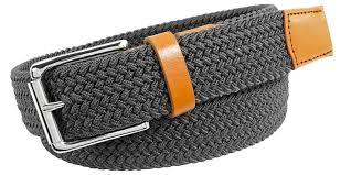 <b>Mens</b> Quality <b>Woven</b> Leather Belts   <b>Elastic Woven</b>   Full Grain Leather