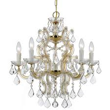 crystorama maria theresa 6 light crystal gold chandelier