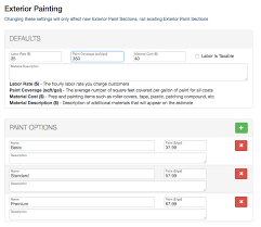 material cost and description define your paint options which will allow you to present multiple options to your customers