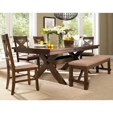 table 4 chairs and bench. 6 piece solid wood dining set with table, 4 chairs, and bench table chairs