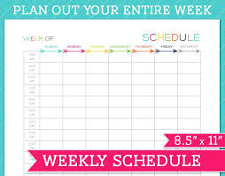 weekly schedule template with hours printable weekly calendar home a personal template a printable