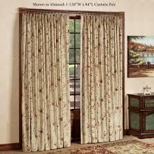 marvelous wooden door with window fl pattern window curtains on steel rod plus brown wooden door