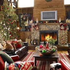 Christmas decorations for a rustic living room design