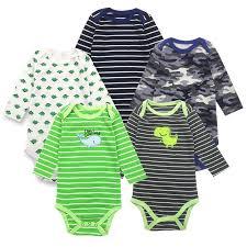 <b>5Pieces</b>/<b>Lot Baby Bodysuits</b> Long Sleeved Boys Girls Clothing ...