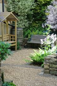 small cottage garden design for family in northampton view of shady seating area