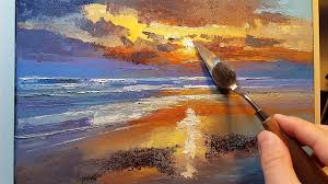 sunset beach how to oil painting palette knife brush dusk waves surf clouds water sea dusan