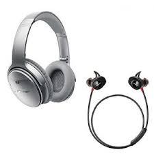 bose in ear bluetooth headphones. bose quietcomfort 35 noise cancelling over-ear (silver) \u0026 soundsport pulse in-ear (red) wireless bluetooth headphone bundle in ear headphones