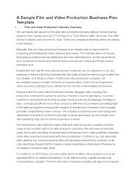 A Sample Film And Video Production Business Plan Template ...