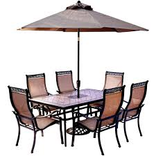 Hanover 7 Piece Outdoor Dining Set with Rectangular Tile Top Table