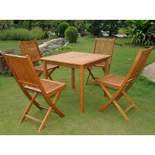 Use this five piece outdoor dining set to entertain family and guests on the patio this set features one square table with a slatted design on the top and