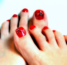 Toe Nail Art Red And Black: Red and black toe nail art design idea ...