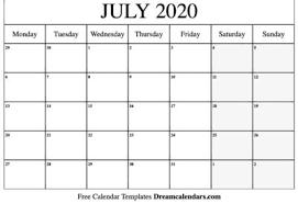 Templates Archives July 2020 Calendar Printable Editable