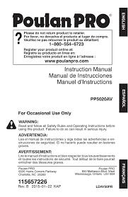 Poulan Spark Plug Chart Om Poulan Pro Pp5020av 966807601 966055201 2015