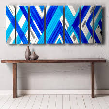 blue geometric contemporary metal wall art on turquoise wood and metal wall art with vibration 66 x24 large earthtone brown modern abstract metal