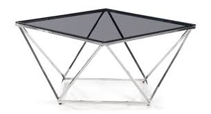 pirlo smoked black glass coffee table with chrome legs