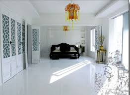 Interesting White Marble Tile Flooring With Neutral Bathroom