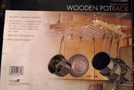 deluxe ceiling mounted wooden pot rack