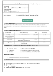 Resume Format Download In Word Document