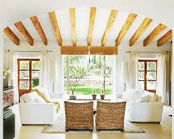 perfect white living room with ceiling beam styles