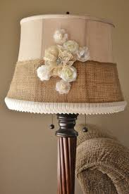 shabby chic lighting. Shabby Chic Lamp Shade Makeover. Vintage Lace, Burlap, Flowers Lighting R