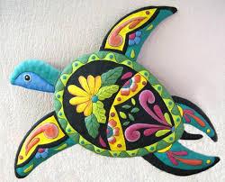 painted metal turtle outdoor garden art