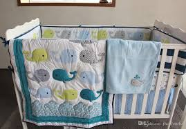 active printing cotton baby boy crib bedding set blue whale cot bedding comforter per bedsheet hot nursery accessories childrens quilt bedding sets