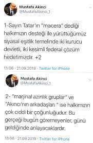 """Atilla on Twitter: """"Cumhurbaşkanımız Mustafa Akıncı'nın son açıklaması.  Ersin Tatar'ın marjinal azınlık olarak nitelediği kimseler Kıbrıs Türk  halkının yüzde 61'idir. Macera dediği ise kurucu Cumhurbaşkanımız  Denktaş'ın altına imzasını attığı iki ..."""