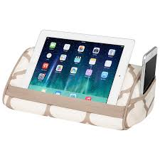 Tablet Designed For Seniors Lapgear Designer Tablet Pillow Stand With Phone Pocket Beige Quatrefoil Fits Most Tablet Devices Style No 35516