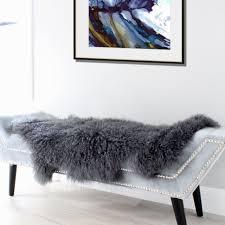 dark grey mongolian sheepskin throw tibetan lambskin fur hide pelt curly hair for
