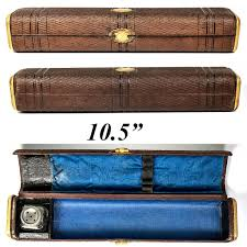details about antique french scribe s box 10 5 leather writer s inkwell pen travel case