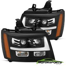 2011 Suburban Daytime Running Light Bulb Details About 2007 2014 Chevy Suburban Tahoe Avalanche Black Led Bar Projector Headlights Pair