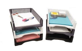 office paper holder. unique office set of 6 sturdy plastic front loading document letter organizer tray  stackable office desktop paper holder black white and grey 2 each color intended holder c