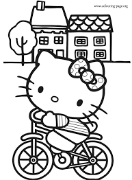 Small Picture Hello Kitty Hello Kitty riding a bike coloring page