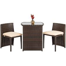patio furniture chairs. Amazon.com: Best Choice Products Outdoor Patio Furniture Wicker 3pc Bistro Set W/ Glass Top Table, 2 Chairs- Brown: Garden \u0026 Chairs D